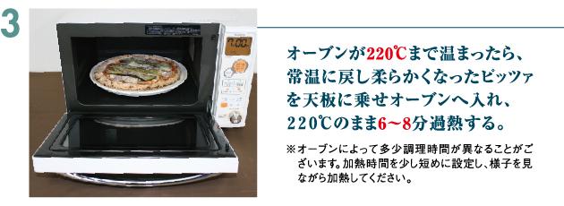 オーブンで220度のまま6~8分過熱する。